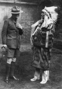 Fig 20: Scout Movement founder Robert Baden-Powell with Sioux Indian Chief Dr. Charles A. Eastman in Queens' College, Cambridge, UK, in 1928.