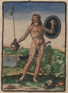 """Fig 22: Hand-colored version of Theodor de Bry's """"The true picture of one Pict,"""" was originally published as an illustration in Thomas Hariot's 1588 book """"A Briefe and True Report of the New Found Land of Virginia."""""""