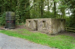 Fig 25: James Watt Cottage and Graffitied Steam Engine Cylinder (Canmore)