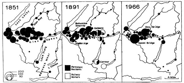 Fig 7: The distribution of population in the Glen Roy/Glen Spean area (Kilmonivaig parish) in 1851, 1891and 1966. (Turnock 1967)